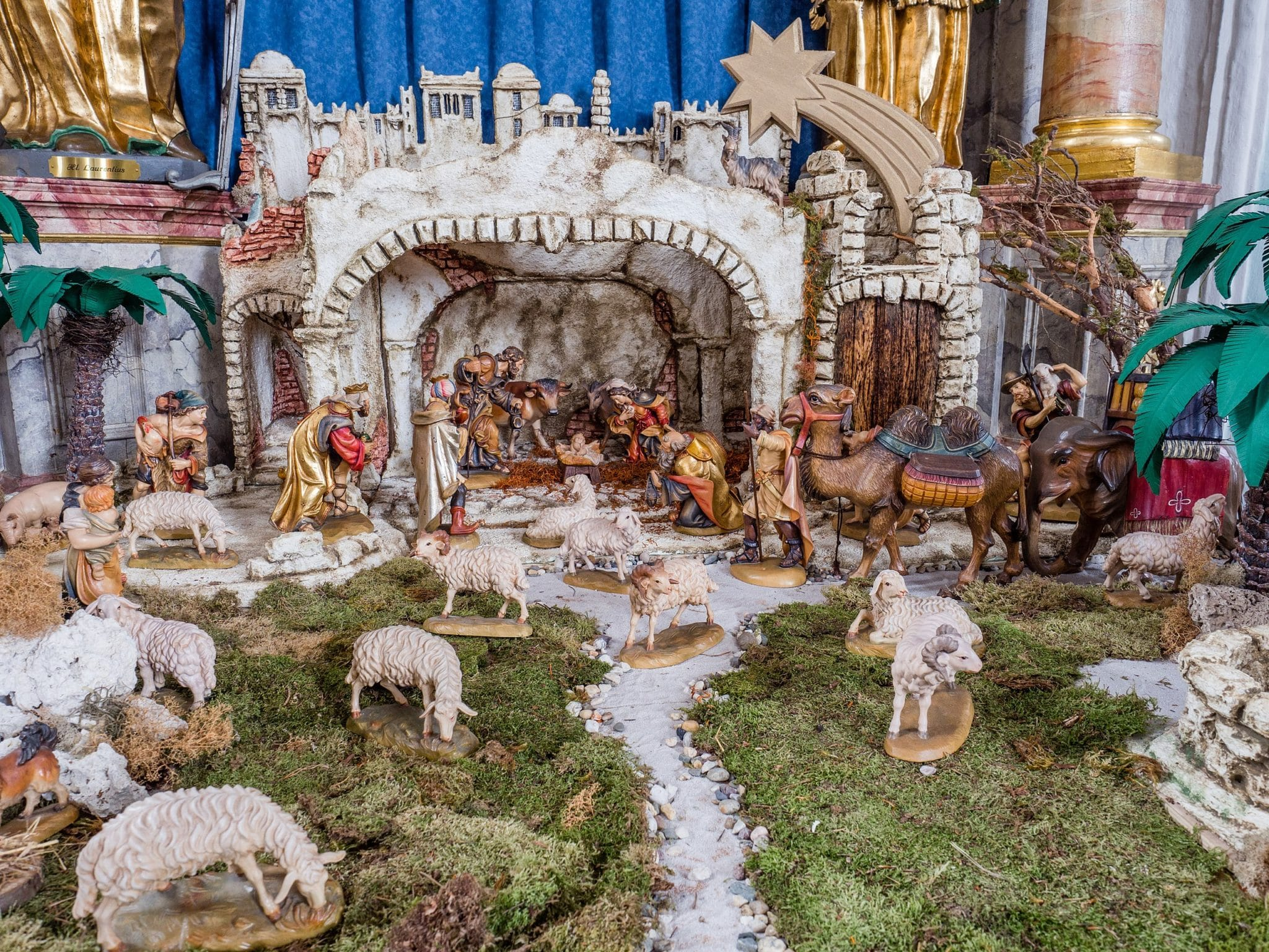 Christmas crib in parish Church St. James in Ebing, Germany.