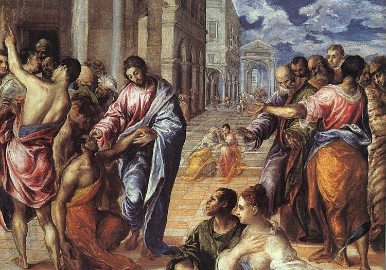 El Greco: Christ heals the blind man.